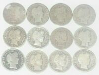 LOT OF 12 BARBER DIMES MIXED DATES 1897 1916 90  SILVER