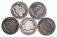 LOT OF 5 1892 1916 LIBERTY HEAD 'BARBER' DIME 90  SILVER COI
