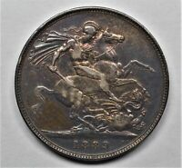 1889 GREAT BRITAIN 1 CROWN VICTORIAN SILVER XF  CIRCULATED R