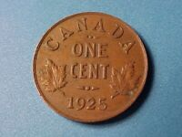 CANADA 1 CENT 1925 XF DETAILS CARB SPOT GEORGE V KEY DATE