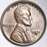 AU 1931 S LINCOLN WHEAT CENT PENNY KEY DATE