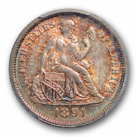1891 10C SEATED LIBERTY DIME PCGS MS 65 UNCIRCULATED TONED BEAUTY NICE