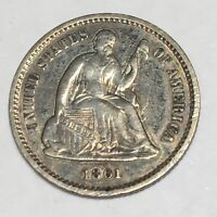 1861 SEATED LIBERTY SILVER HALF DIME