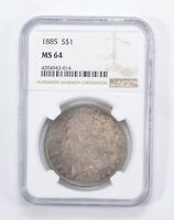 MINT STATE 64 1885 MORGAN SILVER DOLLAR - BLUE TONED - GRADED BY NGC 0032
