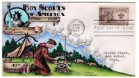 995 BOY SCOUTS 40TH ANNIVERSARY    DOROTHY KNAPP HAND PAINTED CACHET 1950 FDC