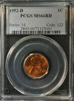 1952-D - 1 CENT WHEAT BACK PENNY - PCGS - MINT STATE 66RD - 2800