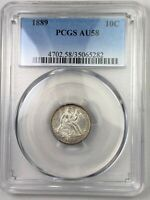 1889 SEATED LIBERTY DIME   PCGS AU58   ATTRACTIVE TONING