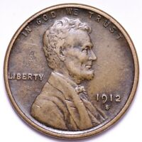 1912-S LINCOLN WHEAT CENT PENNY CHOICE EXTRA FINE  SHIPS FREE E615 WEM