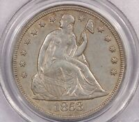 1853 P 1853 LIBERTY SEATED SILVER DOLLAR S$1 PCGS AU53 OLD GREEN HOLDER OGH