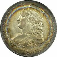 1833 50C PCGS AU55 CAPPED BUST HALF   STUNNING ALBUM RAINBOW TONED   COLORFUL