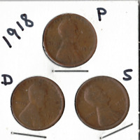 1918 P, D , AND S LINCOLN CENTS IN GOOD AND BETTER CONDITION  3 COINS