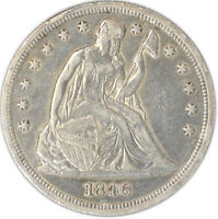1846 $1 LIBERTY SEATED DOLLAR ABOUT UNCIRCULATED OC 1