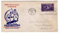 BASEBALL 855 FDC 1939 FIRST DAY COVER MELLONE UNLISTED CACHET