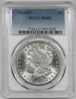 1883 CC MORGAN SILVER DOLLAR $1 PCGS CERTIFIED MINT STATE 62 MINT UNCIRCULATED 360