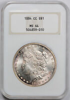 1884 CC $1 MORGAN DOLLAR NGC MINT STATE 64 UNCIRCULATED CARSON CITY OLD FATTY HOLDER OH