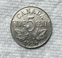 1926 FAR 6 CANADIAN 5 CENT   VG/F