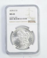 MINT STATE 65 1878 MORGAN SILVER DOLLAR - GRADED NGC 9921