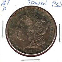 1921-D MORGAN SILVER DOLLAR BU WITH BROWN TONE WITH RAINBOW COLORS  AU1212