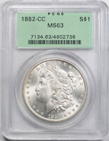 1882 CC $1 MORGAN DOLLAR PCGS MINT STATE 63 UNCIRCULATED OLD HOLDER OGH
