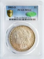 1883 O PCGS MINT STATE 64 SILVER MORGAN DOLLAR TONED RAINBOW MONSTER CAC GOLD SHIELD