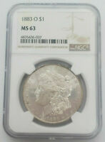 1883-O MORGAN US SILVER DOLLAR S$1 NGC MINT STATE 63 CERTIFIED MIRRORED SHIPS FREE PQ