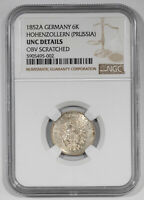 1852 A GERMANY HOHENZOLLERN PRUSSIA 6K KREUZER NGC UNCIRCULATED DETAILS 002