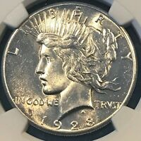 1928 SILVER PEACE DOLLAR NGC UNC DETAILS CLEANED