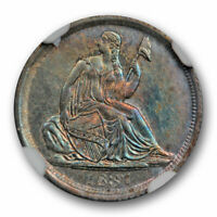 1837 NO STARS SEATED LIBERTY HALF DIME NGC AU 58 ABOUT UNCIRCULATED TONED