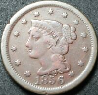 1856 UPRIGHT FIVE BRAIDED HAIR LARGE CENT COIN