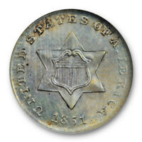1851 3CS THREE CENT SILVER ANACS MS 62 UNCIRCULATED PRETTY TONED   OLD HOLDER