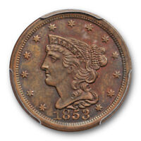 1853 1/2C BRAIDED HAIR HALF CENT PCGS MINT STATE 64 BN UNCIRCULATED CAC APPROVED