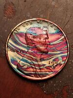 1954D MONSTER TONED BEAUTIFUL LINCOLN WHEAT CENT PENNY UNC-BU HIGH GRADE COIN