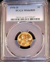 1954-D LINCOLN WHEAT CENT PCGS MINT STATE 66RD BRIGHT RED SUPERB LUSTER, PQ GC431