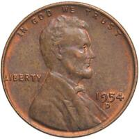 1954 D LINCOLN WHEAT CENT ABOUT UNCIRCULATED PENNY AU