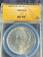 1891 S MORGAN SILVER DOLLAR AU55/  FULL .BREAST FEATHERS AND HAIRLINE