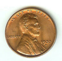 1933-D - RD - RED - LINCOLN CENT - HIGH GRADE - UNCIRCULATED - UNCERTIFIED