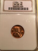 1935 RED LINCOLN CENT NGC MINT STATE 66RD.  LUSTER