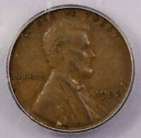 1933-P 1933 LINCOLN WHEAT CENT ICG AU50