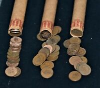 THREE ROLLS OF INDIAN HEAD PENNIES CENTS MIXED DATES 1800S A