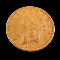 1867 S $20 GOLD LIBERTY DOUBLE EAGLE COIN