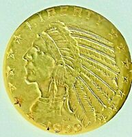 1909 D FIVE DOLLAR INDIAN GOLD UNCIRCULATED EXTRA NICE COIN