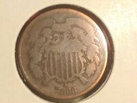 1868 2 CENT PIECE VG  SHIPS FREE