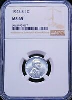 1943-S LINCOLN STEEL CENT NGC MINT STATE 65 BRIGHT WITH GREAT LUSTER, PQ GC574