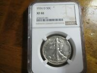 1936-D, NGC GRADED EXTRA FINE  40 WALKING LIBERTY HALF,  COIN.