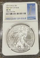 MS70 2015 AMERICAN SILVER EAGLE - FIRST DAY OF ISSUE- GRADED NGC NO SPOTS