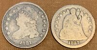 US COIN LOT  1  1831 LIBERTY CAP CAPPED BUST DIME    1  1857