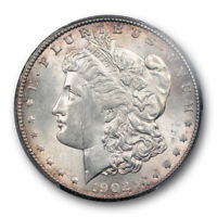 1902 S $1 MORGAN DOLLAR PCGS MINT STATE 62 UNCIRCULATED BETTER DATE TONED PRETTY COIN