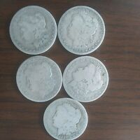 MORGAN DOLLAR LOT FROM 1881 82 83 84 85 GOOD CONDITIONS 90 SILVER
