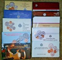LOT OF  10  U.S MINT UNCIRCULATED COIN SETS 1984 1995 OGP.