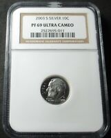 2003 S SILVER PROOF ROOSEVELT DIME COIN   NGC PF 69 ULTRA CA